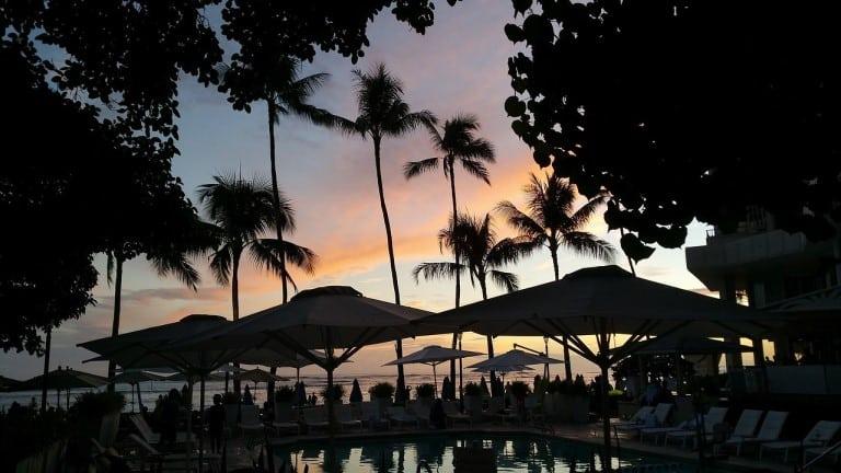 Sunset, beach, Hawaii