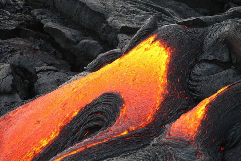 Lava flowing  - active volcano