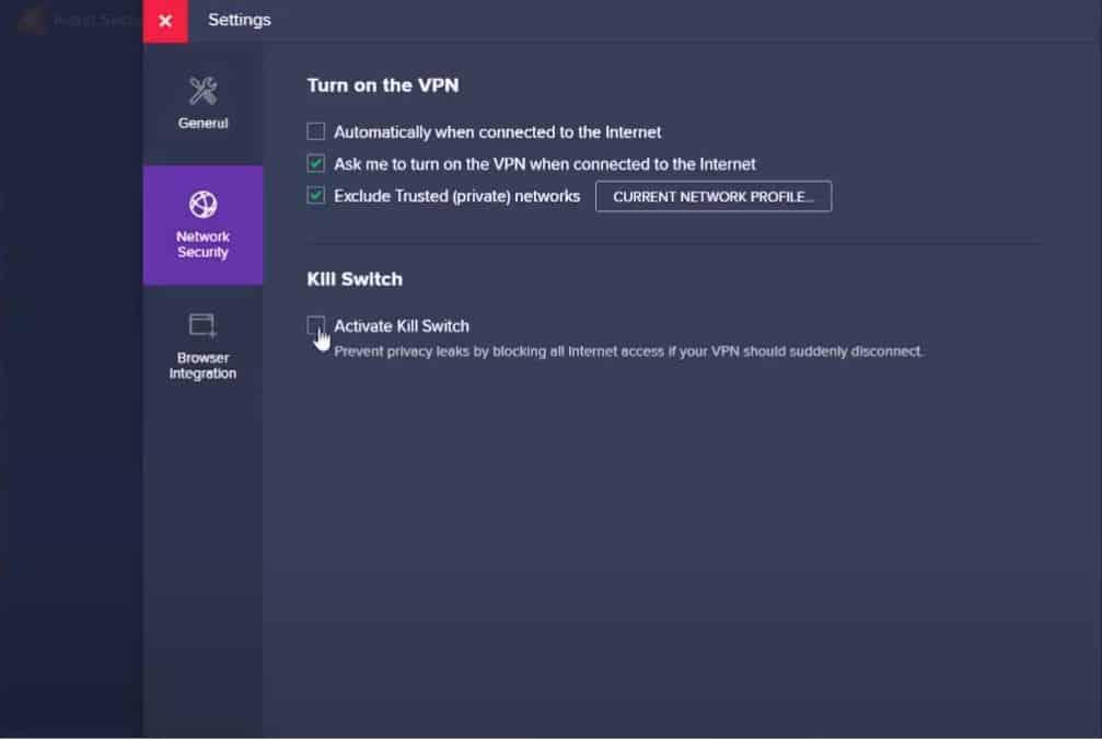 Avast SecureLine VPN - Settings