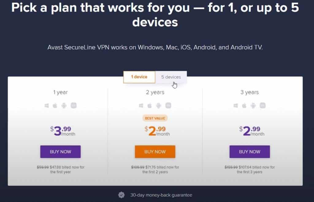 Avast SecureLine VPN - pick a plan that works for you - 1 to 5 devices