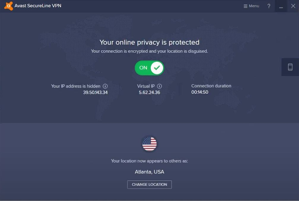 Avast SecureLine VPN - your online privacy is protected