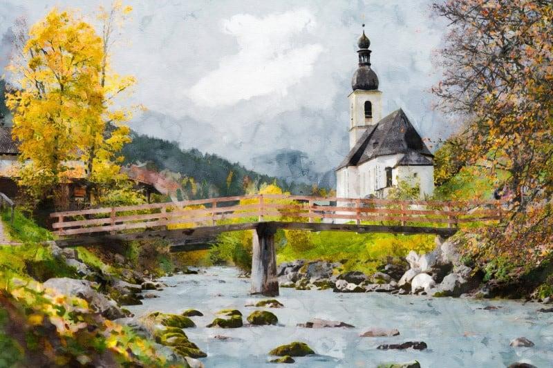 Art print - church by the river
