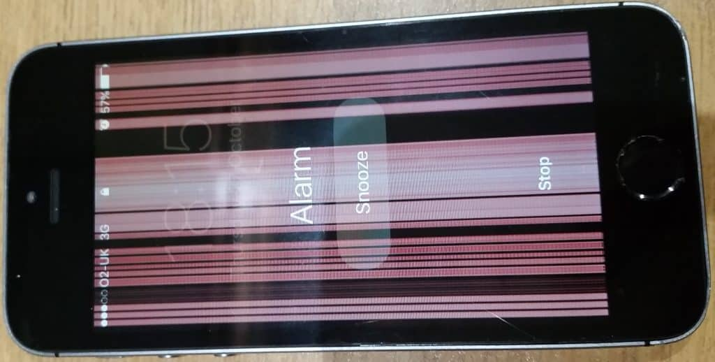 Iphone with lines on a broken screen