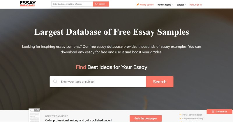 database of free essay samples