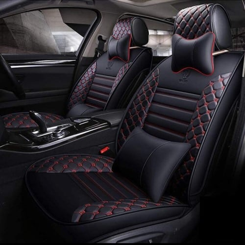 ADHW Universal Car Seat Cover Sets, Luxury Leather Car Seat Cushion Protector