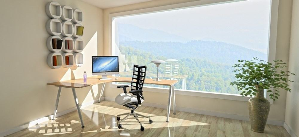 Desk and chair in a corner