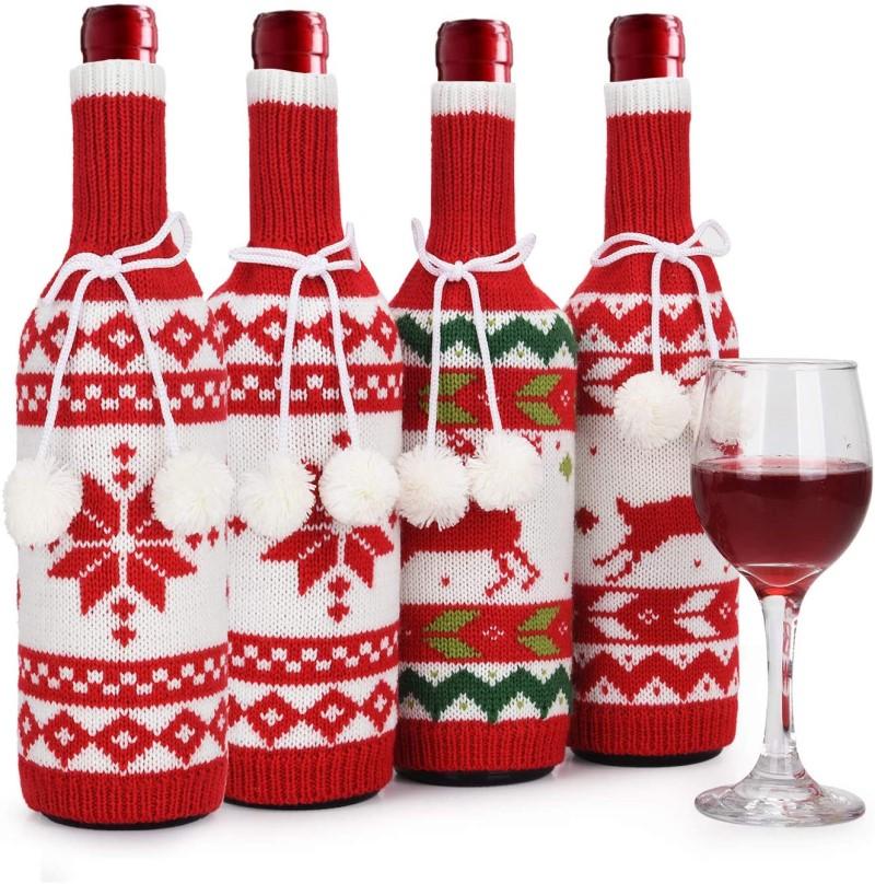 Handmade Sweater Wine Bottle Bags for Christmas