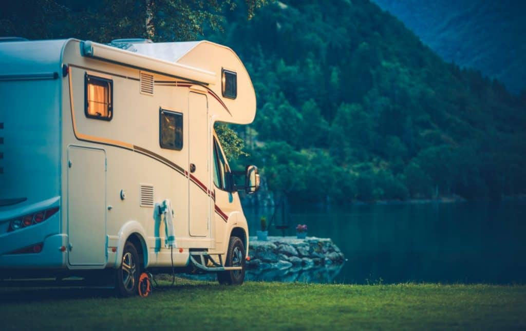 A used campervan by the lake